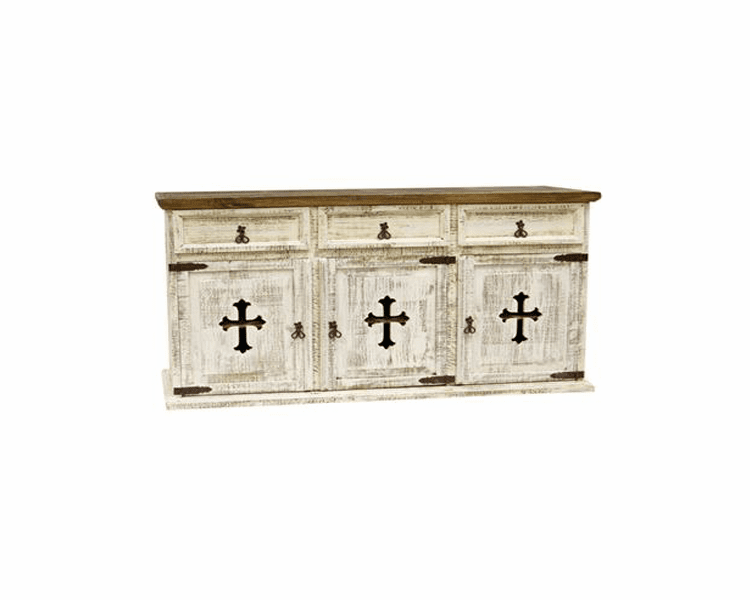 White Buffet With Cross, Rustic White Buffet Or Credenza