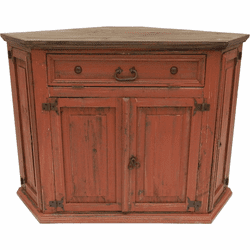 Santa Fe Antique Red Corner TV Stand W/ Dark Top