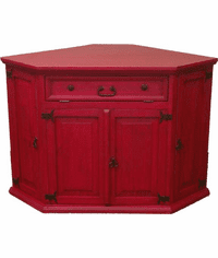 Santa Fe Antique Red Rustic Corner TV Stand
