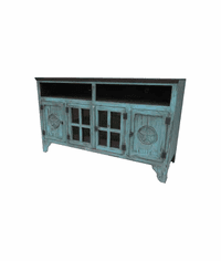 Santa Fe Antique Turquoise TV Stand With Stars