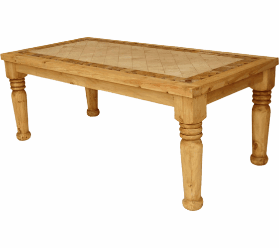 Santa Fe Marble Top Rustic Dining Table