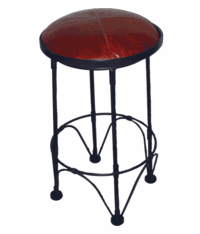Santa Fe Metal Barstool w/ Round Leather Swivel Seat