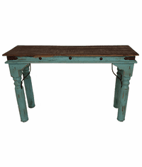 Santa Fe Rustic Antique Turquoise Console Table