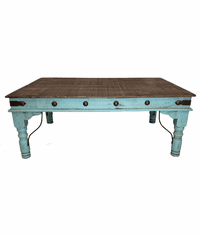 Santa Fe Rustic Turquoise Coffee Table