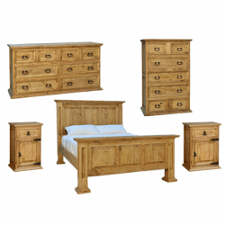Santa Rita Rustic Bedroom Set 6 PCS