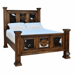 Santa Rita Rustic Cowhide Bed Frame With Stars