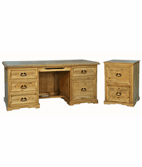 Santa Rita Rustic Executive Desk & File Cabinet Set