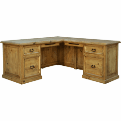 Santa Rita Rustic L-Shaped Wood Desk