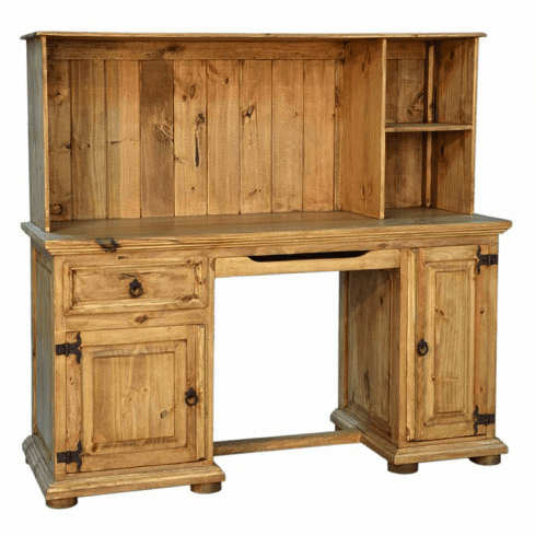 Santa Rita Rustic Wood Computer Desk with Hutch