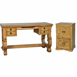 Santa Rita Rustic Writing Desk & File Cabinet Set
