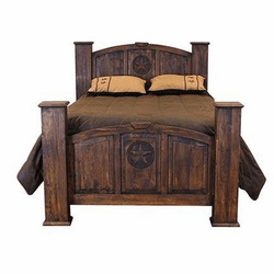 Santa Rosa Rustic Mansion Bed Frame With Stars