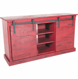 "Sevilla Barn Door 65"" Red TV Console"