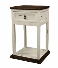 Sierra Leon White Nightstand W/ Drawer