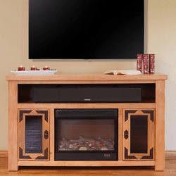 "Sierra Rustic Lodge 60"" TV Stand w/ Electric Fireplace"