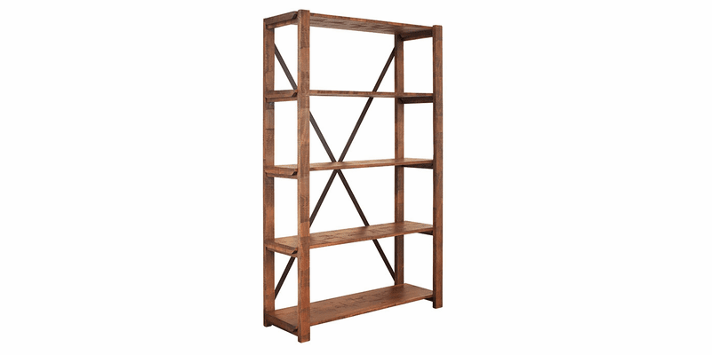 Sierra Rustic Open Bookcase W/ 5 Shelves
