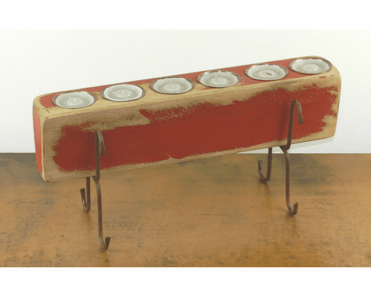 Six Hole Sugar Mold Candle Holder Red