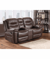 Stetson Rustic Faux Leather Loveseat Recliner with Console