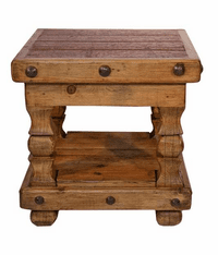 Taos Distressed Wood End Table