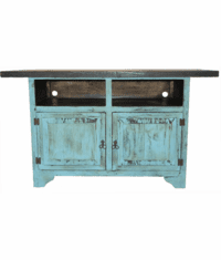 "Taos Flat Screen 63"" Antique Turqouise TV Stand"