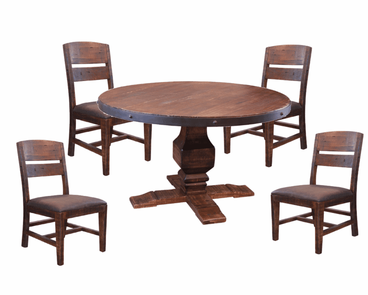 Rustic Round Pedestal Dining Table Set Round Pedestal Dining Table Set