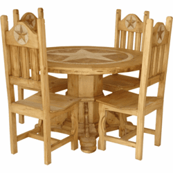 Taxco Pedestal Round Star Table Set
