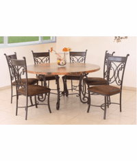 Valencia Round Copper Table Set W/ 6 Chairs