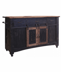 Yucatan Black Kitchen Island