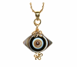 Eye Agate Jewelry 14K 27mm Gold Rare Polished Black White Tan Gray