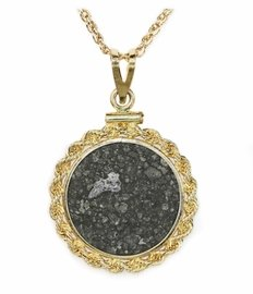 Allende Meteorite Jewelry 14K Gold Comet-like Inclusion with Ropey Coin Mount Setting