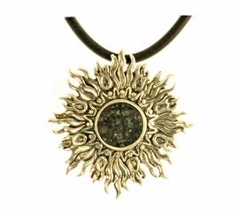 Allende Meteorite Jewelry Pendant Necklace Sterling Silver Sunburst NEW