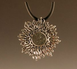 Allende Meteorite Jewelry Sunburst Pendant Necklace Sterling Silver