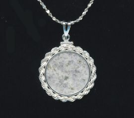 """Anorthosite """"Moon"""" Pendant Sterling Silver"""