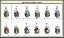 Authentic Birthstone Jewelry Necklace Pendant with Meteorite Sterling Silver
