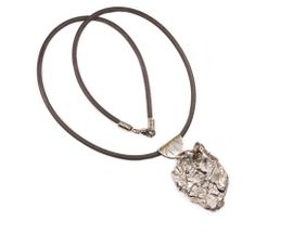 Campo del Cielo Meteorite Jewelry Pendant Necklace Stainless Steel with Rustic Wavy Line Bail