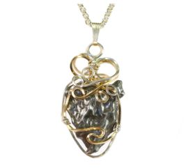 Classic Sikhote-Alin Meteorite Jewelry Pendant Necklace Mixed Gold, Sterling Silver