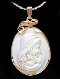 Mammoth Ivory Jewelry Mother and Child Pendant Large 14K Gold