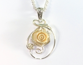 Extinct Fossil Mammoth Ivory Rose Necklace Sterling Silver