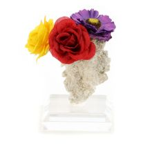 Fulgurite Lightning Sand Colorful Flower Bouquet with Vase and Stand