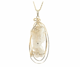 Fulgurite Lightning Sand Glass 14k Gold Pendant Large
