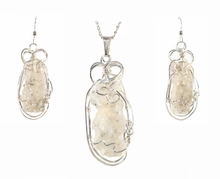 Fulgurite Lightning Sand Pendant Necklace Earrings Set Sterling Silver Large