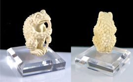 Hookah Smoking Frog Sculpture Hand Carved Bone