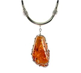 Large Fine Baltic Amber Jewelry with Gold Spangles Victorian Design Sterling Silver