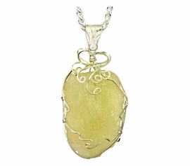 Very Large Libyan Glass Jewelry Sterling Silver Pendant Necklace