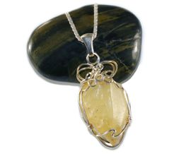 Libyan Desert Glass Jewelry Pendant Necklace Sterling Silver - NEW!