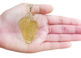 Libyan Desert Glass Jewelry Pendant Necklace Sterling Silver