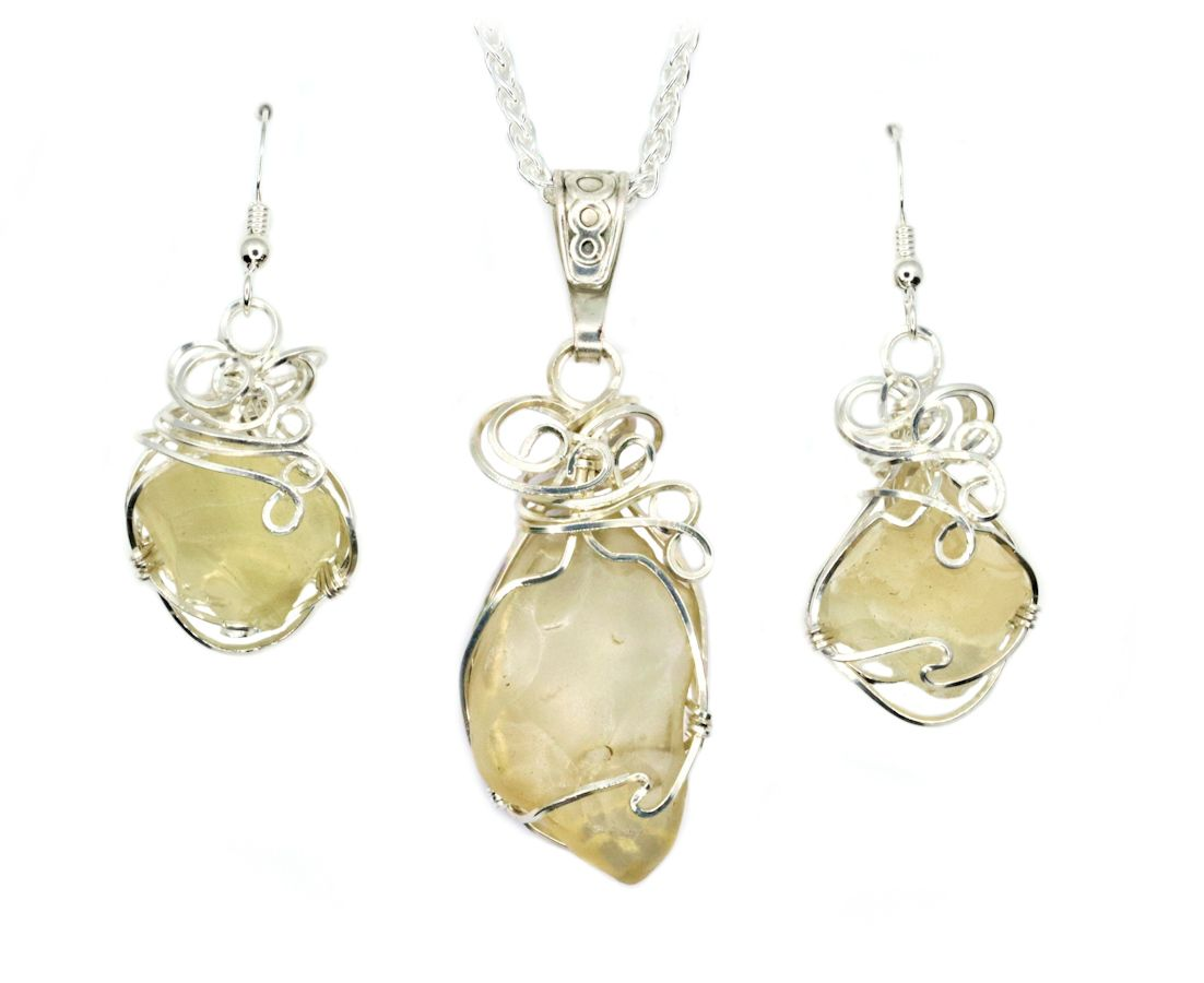 Authentic Libyan Desert Gl Jewelry Pendant Necklace Earrings Set