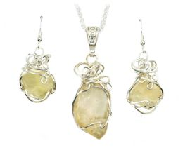 Authentic Libyan Desert Glass Jewelry Pendant Necklace Earrings Set