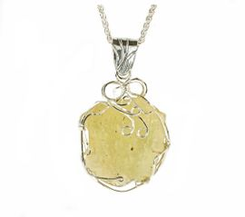 Large Libyan Desert Glass Jewelry Sterling Silver