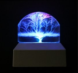 Lichtenberg Figure Round Dome Shaped with Base