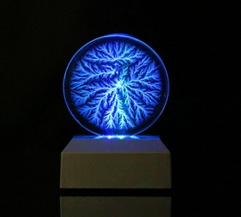 Lichtenberg Figure Tree-like Disk with Lighted Base - sold out!
